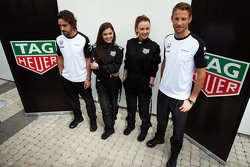 (L to R): Fernando Alonso, McLaren with Ingrid Olerinskaya, actress; Adelina Sotnikova, Olympic Figure Skater; and Jenson Button, McLaren