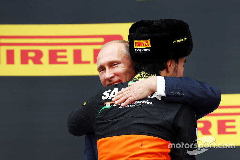 Sergio Perez, Sahara Force India F1 celebrates his third position on the podium with Vladimir Putin, Russian Federation President
