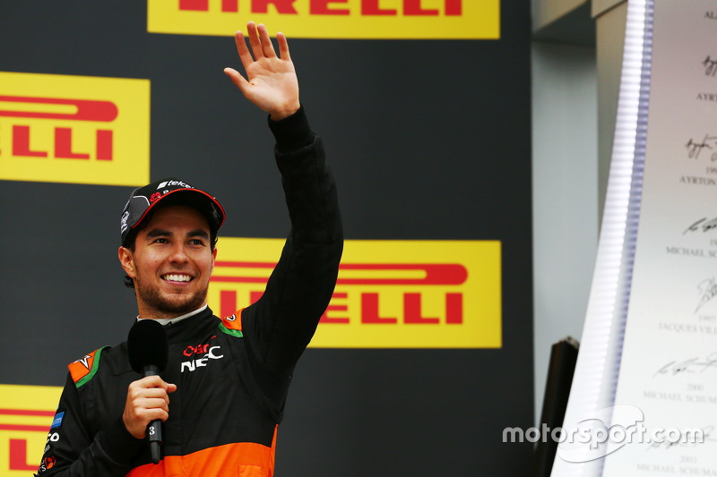 Sergio Perez, Sahara Force India F1 VJM08 celebrates his third position on the podium
