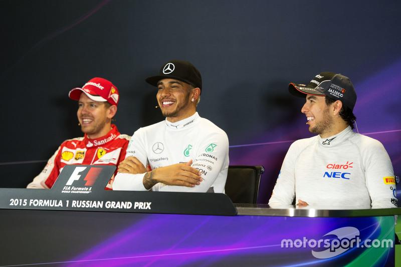 The post race FIA Press Conference,: Sebastian Vettel, Ferrari; Lewis Hamilton, Mercedes AMG F1; Ser