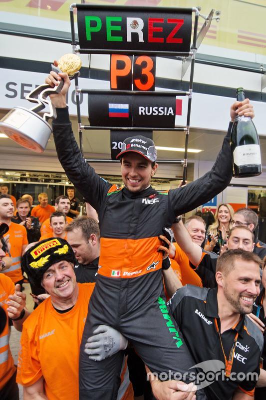 Force India F1 Team comemora terceira coolocação de Sergio Perez, Sahara Force India F1