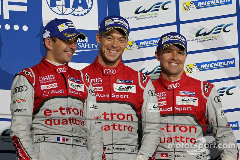 Podium: 3. Benoît Tréluyer, André Lotterer, Marcel Fässler, Audi Sport Team Joest