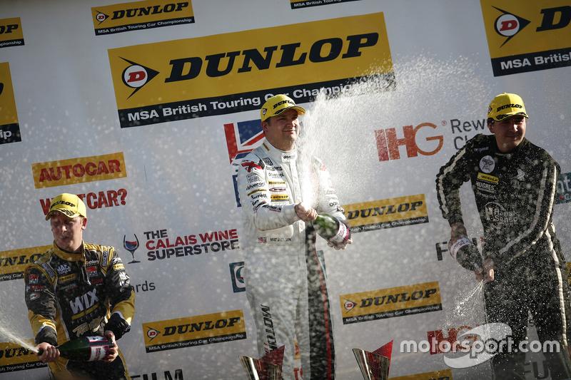 Race 2 Podium: third place Adam Morgan, WIX Racing Mercedes Benz A-Class and winner Mat Jackson, Mot