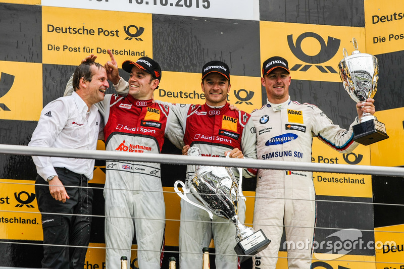 Podium: second place Jamie Green, Audi Sport Team Rosberg Audi RS 5 DTM and winner Timo Scheider, Audi Sport Team Phoenix Audi RS 5 DTM and third place Maxime Martin, BMW Team RMG BMW M4 DTM
