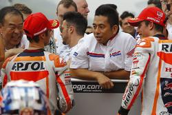 Обладатель поула Дани Педроса, Repsol Honda Team и второе место - Марк Маркес, Repsol Honda Team