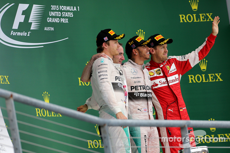 Podium: Second place Nico Rosberg, Mercedes AMG F1 Team, third place Sebastian Vettel, Scuderia Ferrari and race winner and World Champion Lewis Hamilton, Mercedes AMG F1 Team