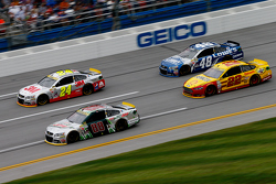 Dale Earnhardt Jr. and Jeff Gordon and Jimmie Johnson, Hendrick Motorsports Chevrolets and Joey Logano, Team Penske Ford