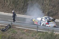 Sébastien Ogier en Julien Ingrassia, Volkswagen Polo WRC, Volkswagen Motorsport crash