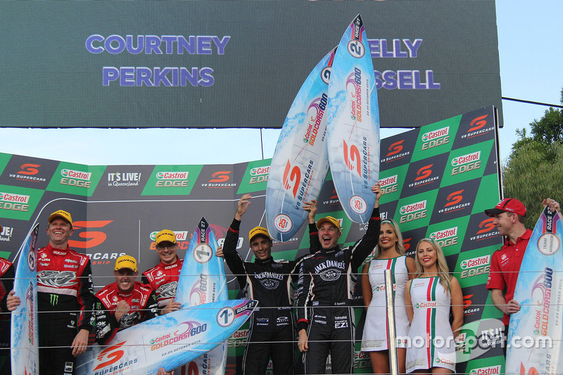 Podium: winners James Courtney and Jack Perkins, Holden Racing Team and second place Rick Kelly and