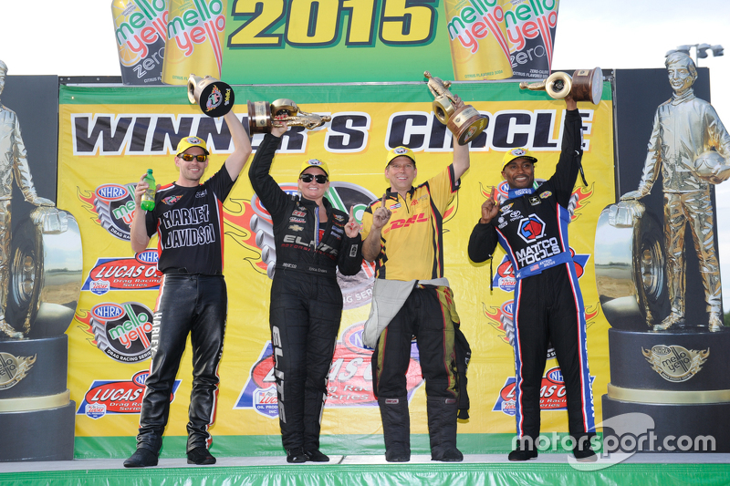 Race winners Andrew Hines, Erica Enders-Stevens, Clay Millican and Antron Brown