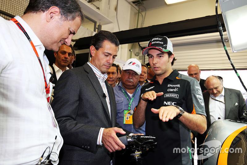 Sergio Pérez, Sahara Force India F1, con Enrique Peña Nieto, Presidente de México