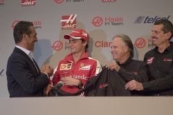 Carlos Slim, President of America Movil, Esteban Gutierrez Team Haas, Gene Haas Owner of the team y Guenther Steiner, Team Director