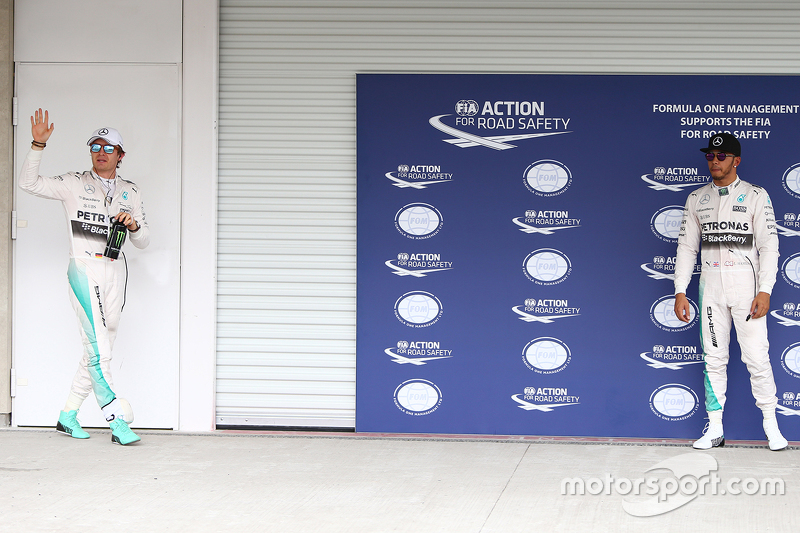 Polesitter Nico Rosberg, Mercedes AMG F1 W06 and second place Lewis Hamilton, Mercedes AMG F2
