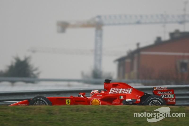 Kimi Raikkonen tests the new Ferrari F2008