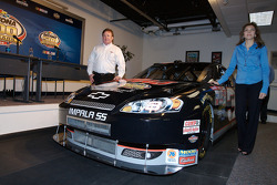 Unveiling of the commemorative car to celebrate the 10th anniversary of Dale Earnhardt's Daytona 500 win: Teresa Earnhardt and Richard Childress unveil the car