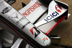 The front wing sponsorship on the Force India F1 VJM01