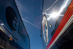 The Team Penske team haulers makes its' way into the Las Vegas Motor Speedway