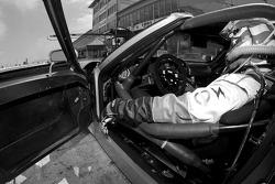 David Robertson sits in the Robertson Racing Doran Ford GT-R