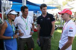 Mark Webber, Red Bull Racing and Heikki Kovalainen, McLaren Mercedes with VIP's