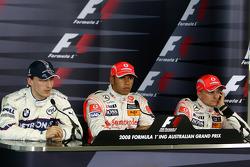 Льюис Хэмилтон, McLaren Mercedes, Роберт Кубица,  BMW Sauber F1 Team и Хейкки Ковалайнен, McLaren Mercedes