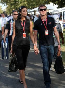 David Coulthard, Red Bull Racing with girlfriend Karen Minier