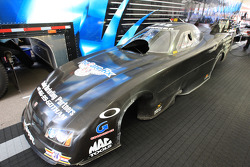 Frank Hawley's funny car body in pit after hitting saftey wall