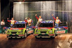 Mikko Hirvonen and Jarmo Lehtinen, Jari-Matti Latvala and Miikka Anttila, BP Ford Abu Dhabi World Rally Team, Ford Focus RS WRC