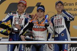 Podium: race winner Dani Pedrosa with Valentino Rossi and Jorge Lorenzo