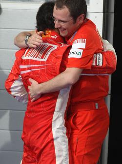 Podium: race winner Felipe Massa celebrates with Stefano Domenicali