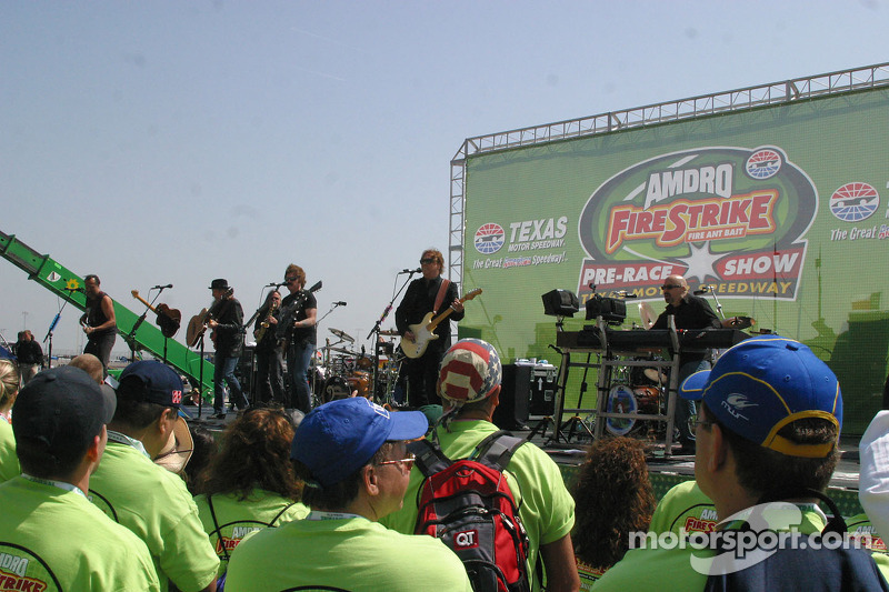 The Doobie Brothers perform for the race crowd