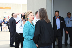 2008 Presidential Candidate Hillary Rodham Clinton talks with Indianapolis Motor Speedway Chairman of the Board, Mari George