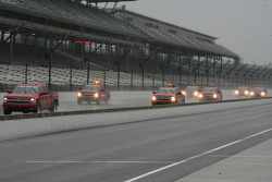 Safety trucks make their final attempt to rid the track of rain before day 2 practice gets cancelled