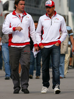 Andy Stevenson Force India F1 Team Manager and Adrian Sutil, Force India F1 Team