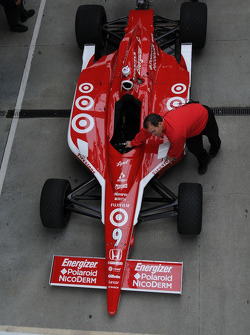 Scott Dixon's car is rolled out for practice