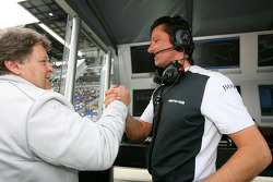 Norbert Haug, Sporting Director Mercedes-Benz, congratulates Axel Randolph, Race Engineer of Paul di Resta, Team HWA AMG Mercedes, with the pole position