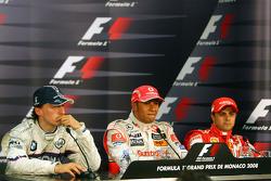 l-r, 2nd, Robert Kubica,  BMW Sauber F1 Team, 1st, Lewis Hamilton, McLaren Mercedes and 3rd, Felipe Massa, Scuderia Ferrari
