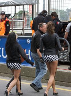 Girls cross the pitlane