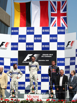 Podium: race winner Robert Kubica with Nick Heidfeld and David Coulthard