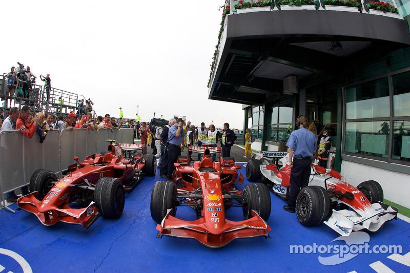 The top three cars in Parc Fermé