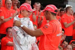 McLaren Mercedes victory celebration: Heikki Kovalainen and Lewis Hamilton