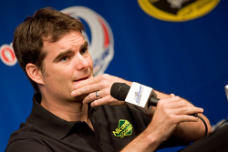 Jeff Gordon fields questions from the press before practice
