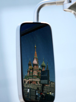 The Kremlin in a mirror of a truck