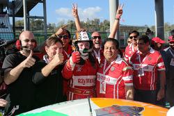 #180 Kessel Racing Ferrari 458 Italia: Gautam Singhania celebrates his victory