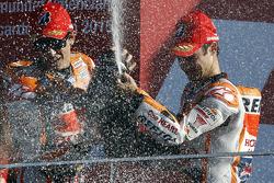 Podium: Segundo lugar, Marc Márquez y tercer lugar, Dani Pedrosa, Repsol Honda Team
