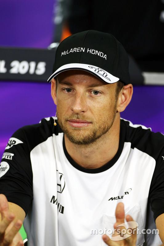 Jenson Button, McLaren in de FIA persconferentie