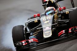 Ромен Грожан, Lotus F1 E23 блокує колеса на гальмуванні