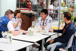 (L to R): Mike O'Driscoll, Williams Group CEO with Claire Williams, Williams Deputy Team Principal, Toto Wolff, Mercedes AMG F1 Shareholder and Executive Director, and Alex Wurz, Williams Driver Mentor / GPDA Chairman