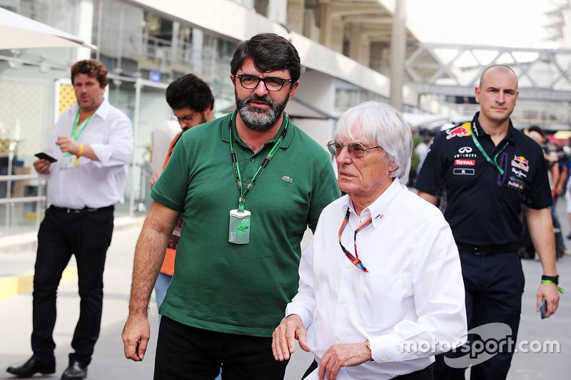 Bernie Ecclestone, con Luis Garcia Abad, Manager de pilotos