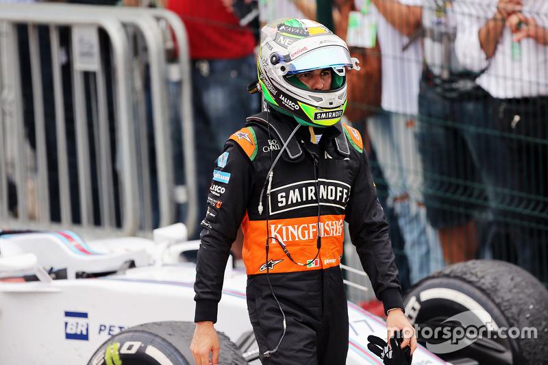 Sergio Perez, Sahara Force India F1, im Parc Fermé