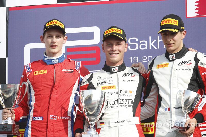 Race 1 Podium: second place Emil Bernstorff, Arden International and winner Marvin Kirchhofer, ART G